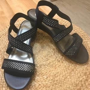 IMPO Gritha Stretch Sparkle Sandals Navy-EUC